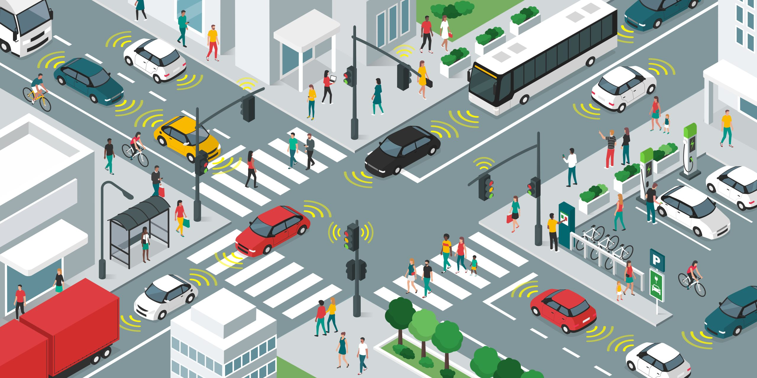IoT City Image Featured Image on Article about Internet of Things enabled cities, personal electric vehicles and IOTA Access