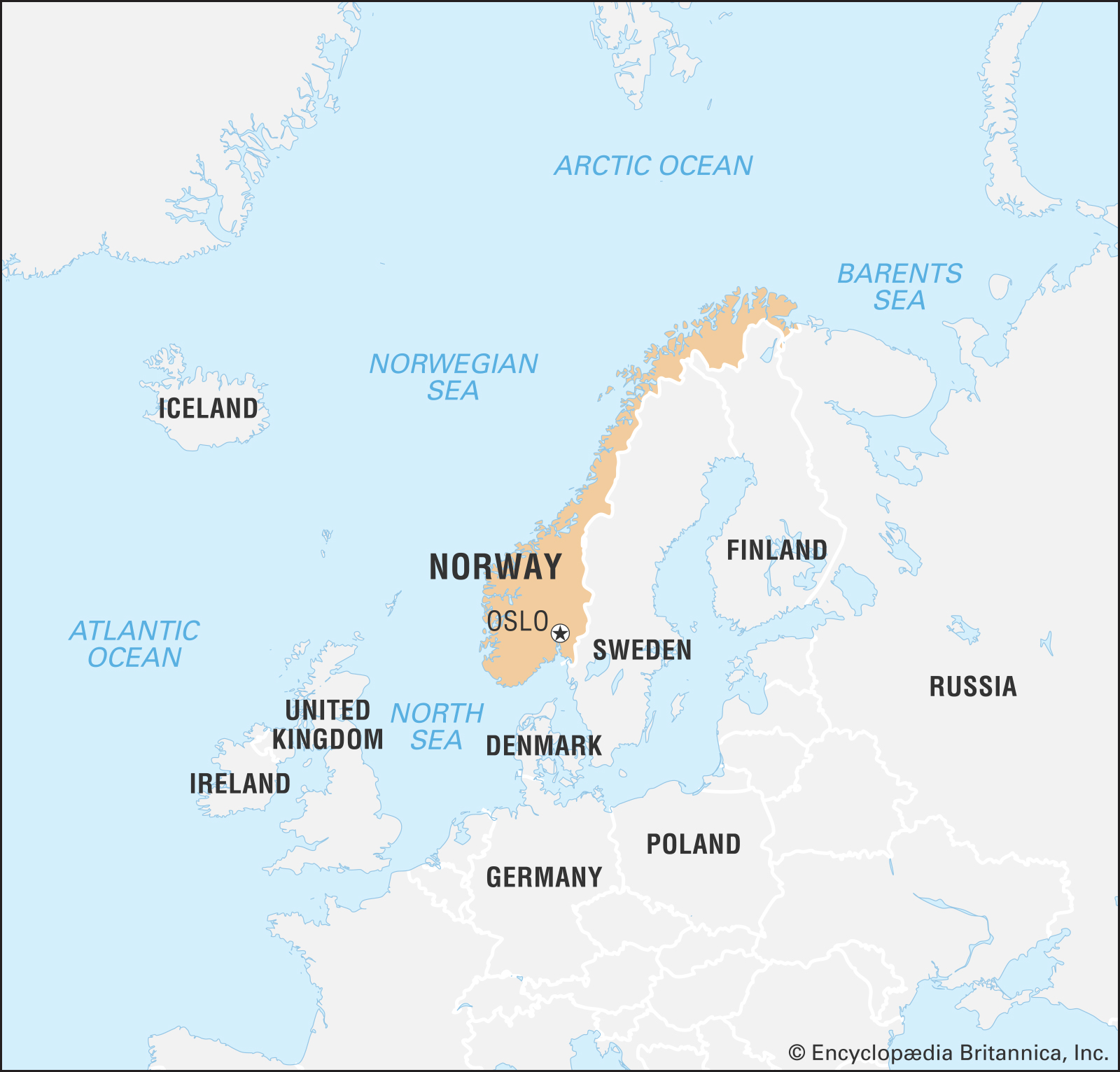 A map of Norway and nearby countries