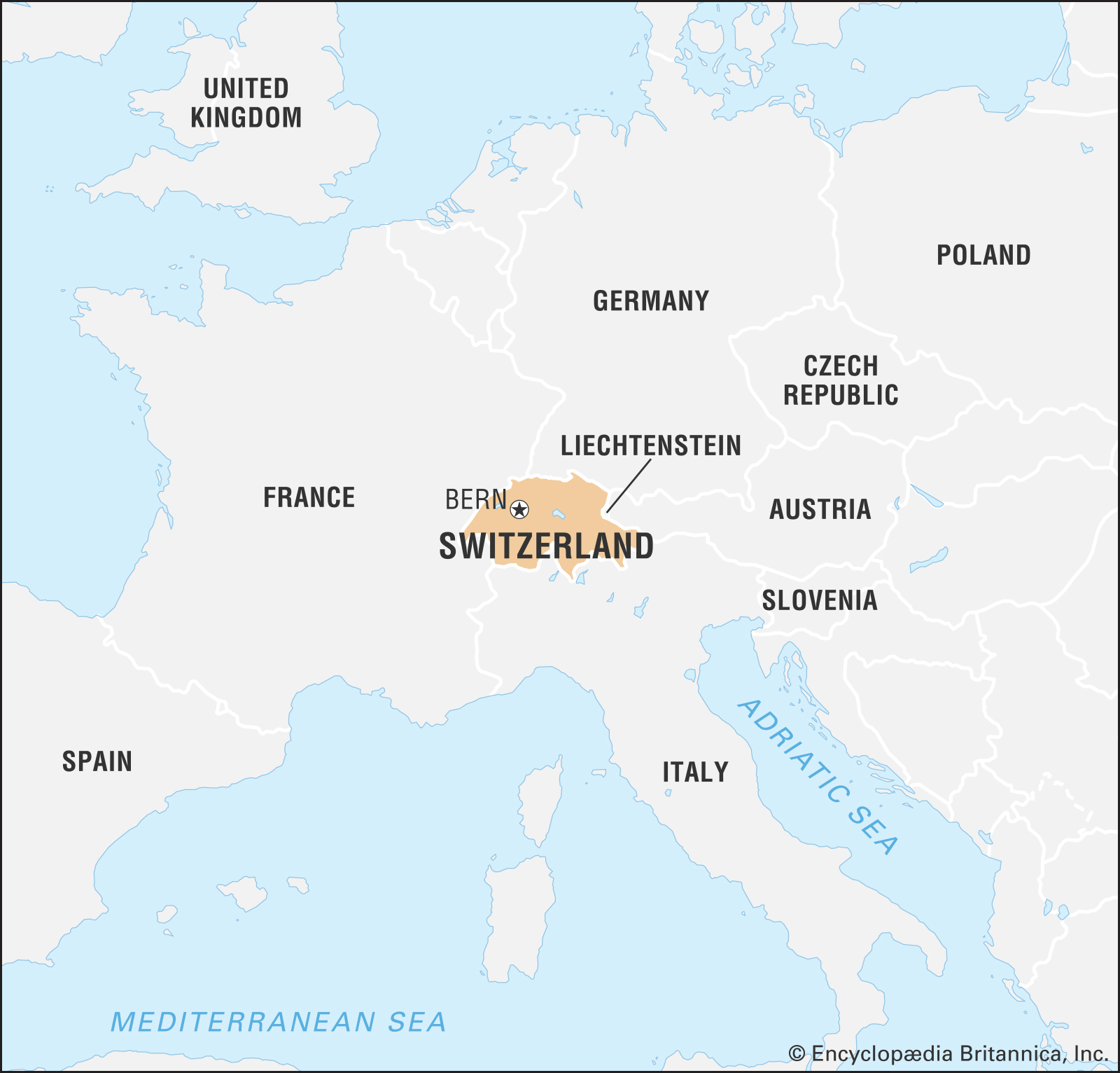 A map of Switzerland and nearby countries