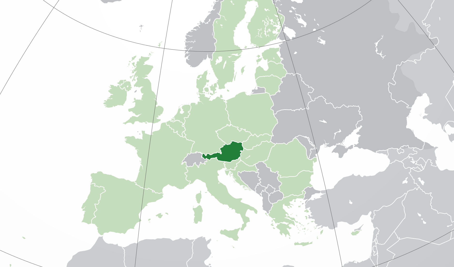 A map of Austria and nearby countries