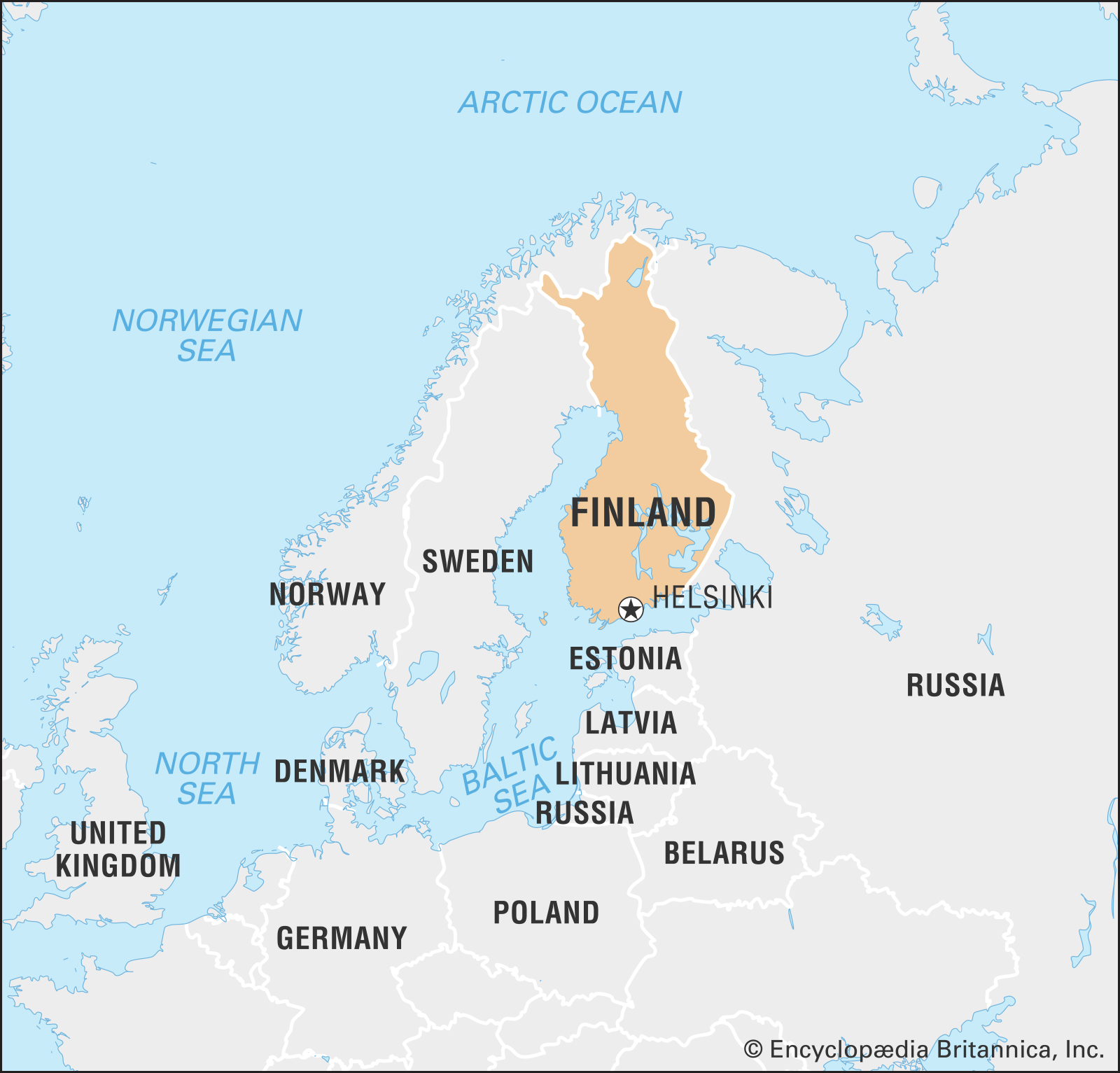 A map of Finland and nearby countries
