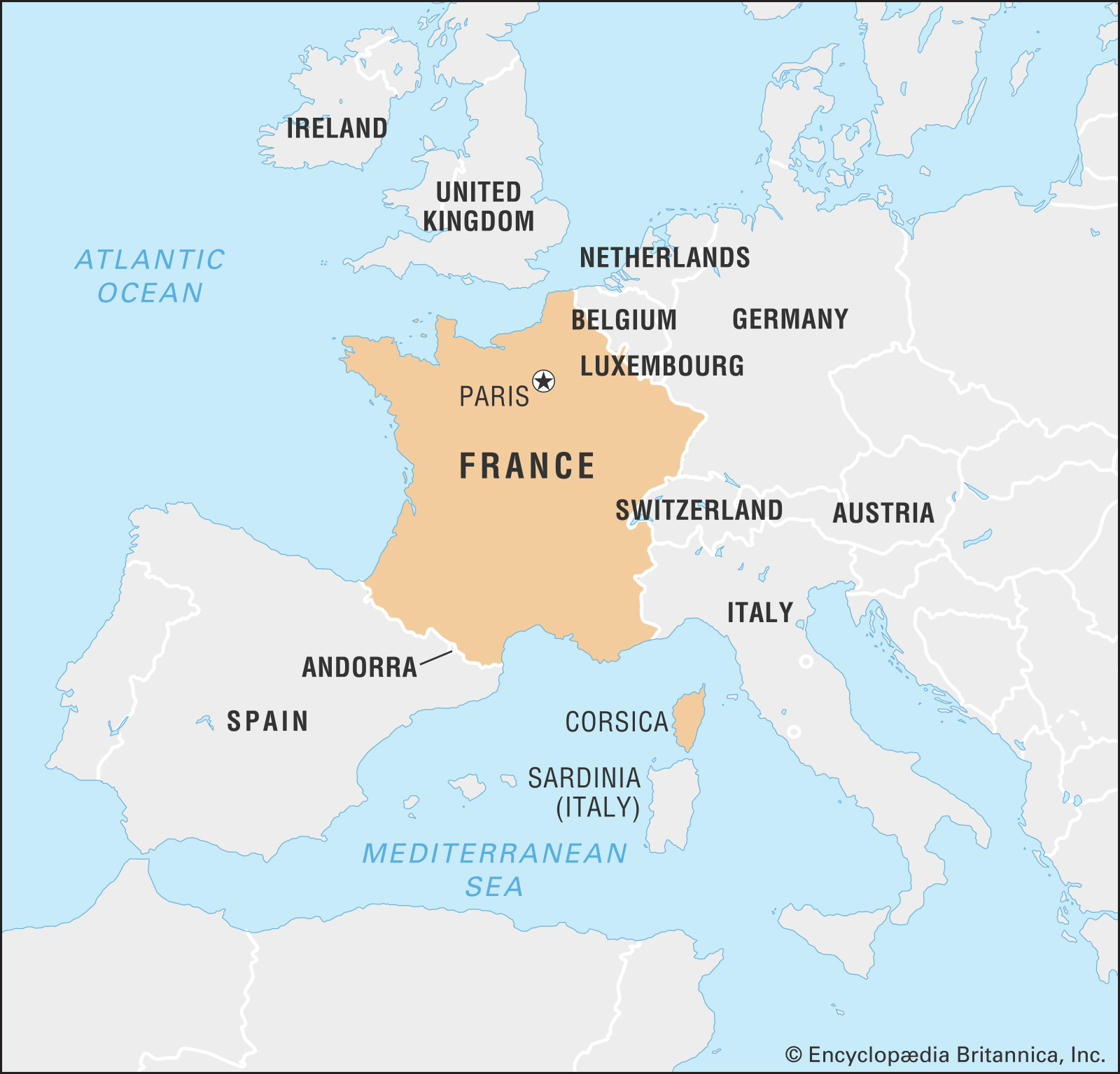 A map of France and nearby countries