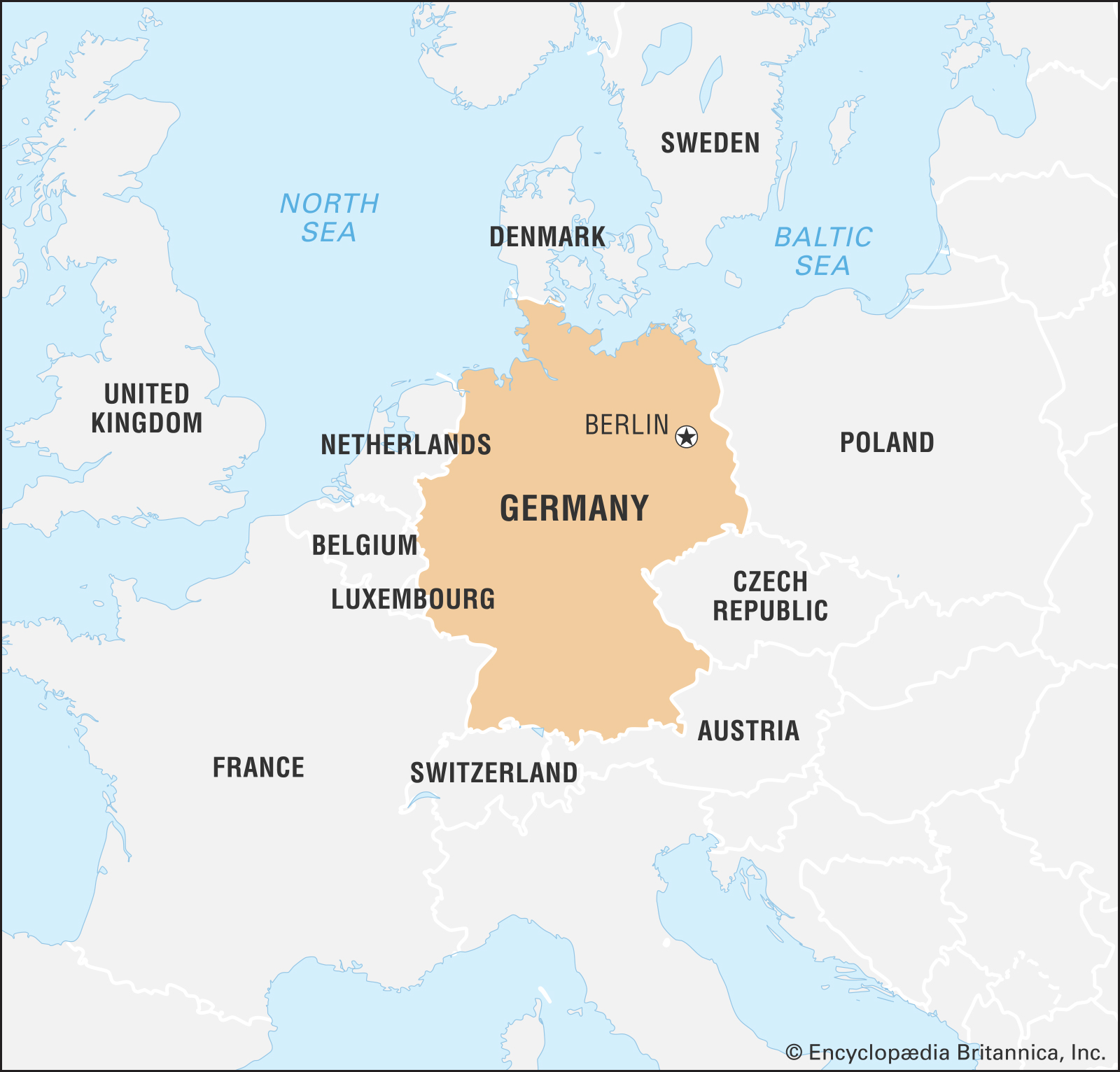 A map of Germany and nearby countries