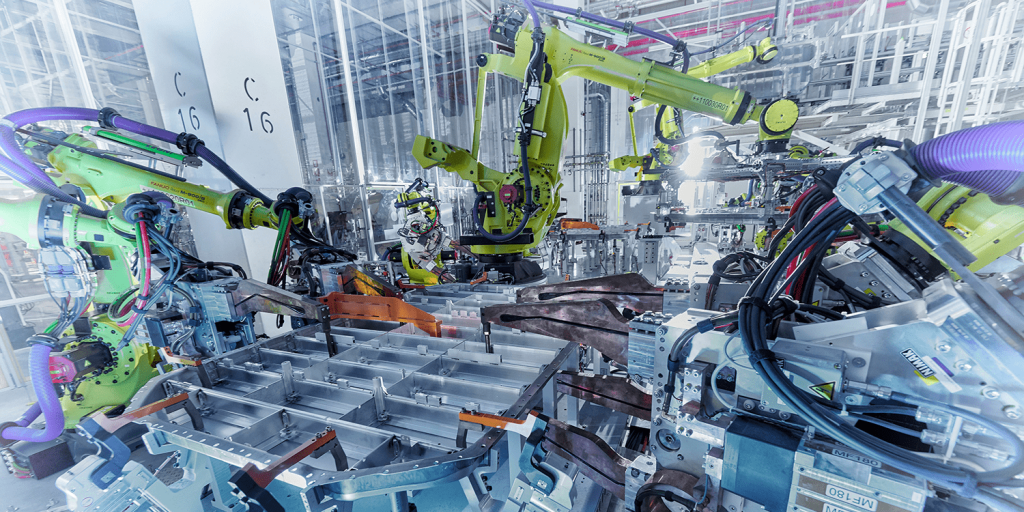 automated lithium-ion battery production in factory