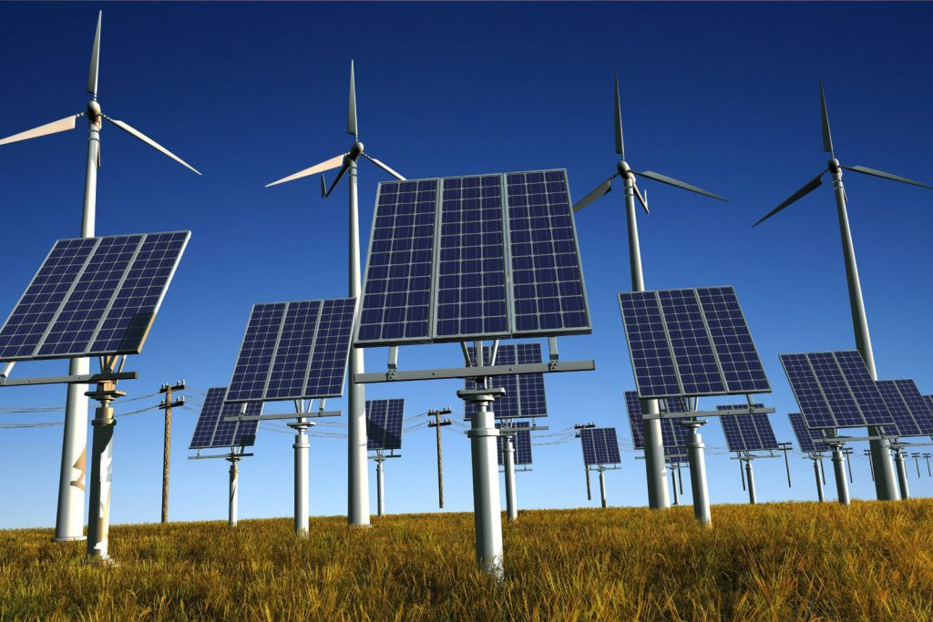 Renewable solar and turbine power generation on a sunny day