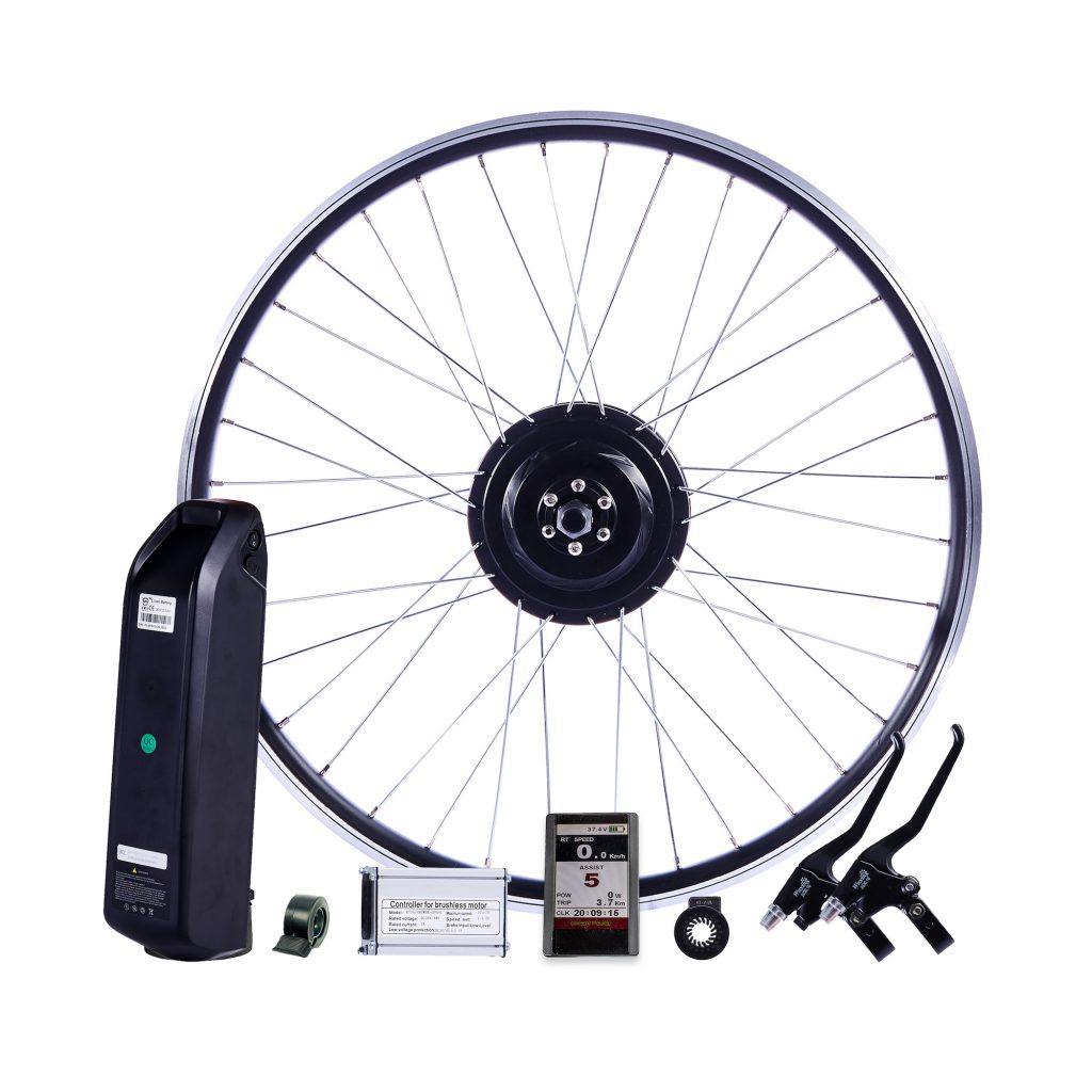 Hub-drive motor installation kit for bicycles